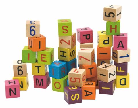 Woody 90644 Barevné kostky s písmeny a čísly 40ks