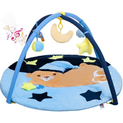 PlayTo Hrací deka s melodií spící medvídek modrá Modrá