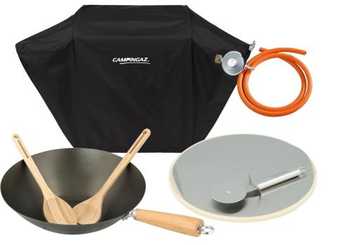 Campingaz Culinary Modular Wok + Campingaz Culinary Modular Pizza + Campingaz obal na gril XXL + připojovací sada Campingaz