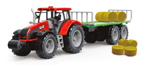 Rappa Traktor s vlečkou a slámou, červená