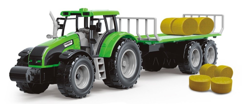 Rappa Traktor s vlečkou a slámou, zelená