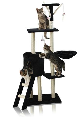 Škrábadlo Hawaj pro kočky, 138x50,5x36 cm, černé