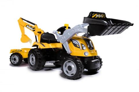 Builder Max Šlapací traktor s bagrem a vozíkem oranžový