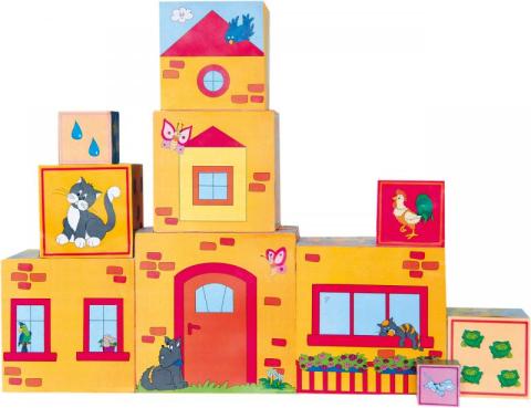 Woody Hračka Skládací věž z 10ti kostek 5 motivů: číslice,zvířátka domeček symboly mě