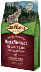 Carnilove Cat Duck & Pheasant Adult Hairball Control 2 kg