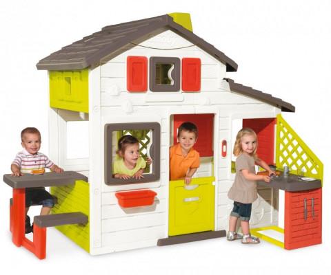 SMOBY 810201 domček Priateľov s kuchynkou lavicou a elektronickým zvončekom 172 cm