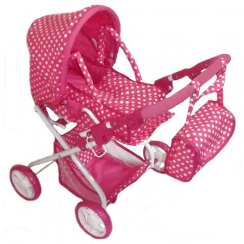Kočárek pro panenky 2v1 Baby Mix růžový s putíky