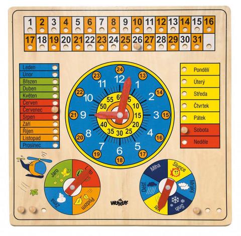 Woody Víceúčelový kalendář s hodinami a barometrem - česká verze