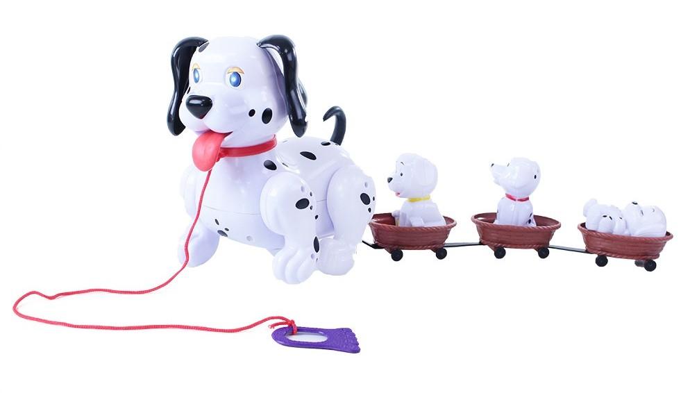 RAPPA Pes chodící se štěňaty a vodítkem zvuk