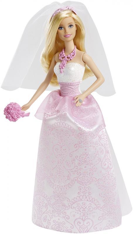 Barbie Panenka nevěsta s kyticí v růžovo bílých šatech