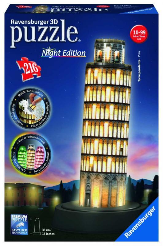 Ravensburger 3D puzzle svítící Šikmá věž v Pise noční edice 216 ks