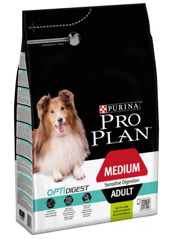 Purina Pro Plan Dog Adult Medium Sensitive Digestion Lamb 3 kg. Krmivo po datu min. trvanlivosti - 8/21.