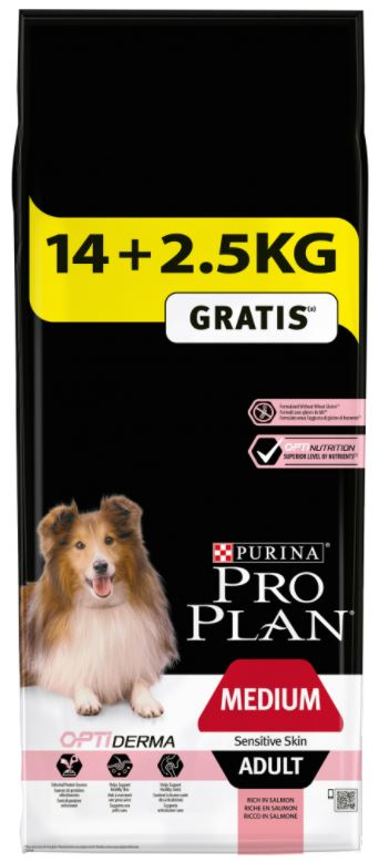 Purina Pro Plan Dog Adult Medium Sensitive Skin 14+2,5 kg zdarma. Krmivo po datu min. trvanlivosti - 8/21.