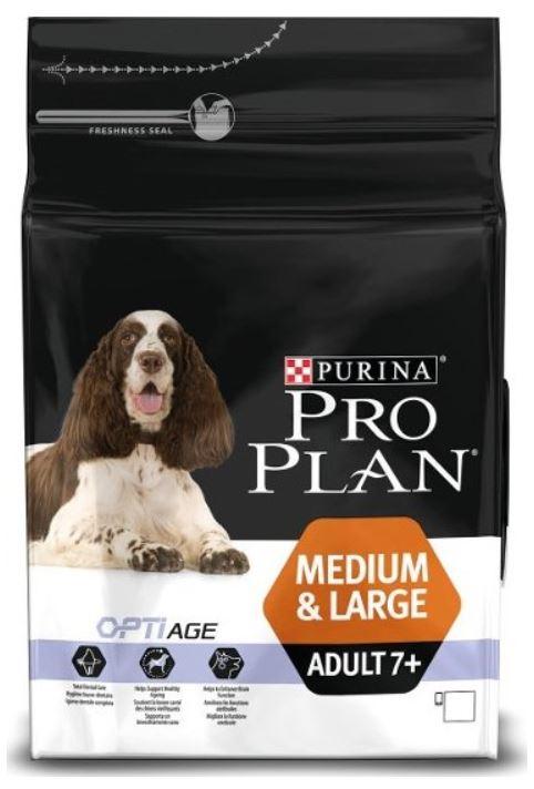 Purina Pro Plan Dog Adult Medium&Large 7+ 3 kg. Krmivo po datu min. trvanlivosti - květen/21