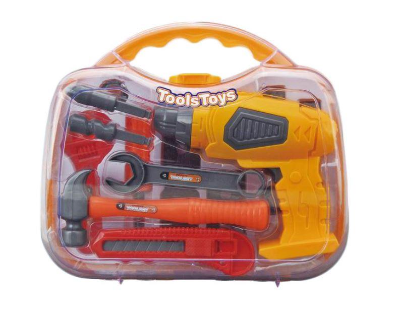 G21 nářadí s vrtačkou v kufříku žlutošedé