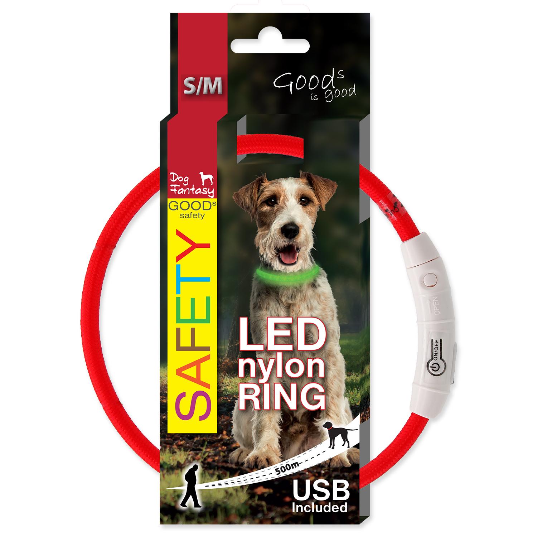 Dog Fantasy obojek světelný, červený, S/M