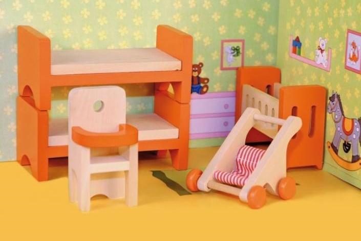 Woody Set nábytek dětský pokojíček do domečku 90813 pro panenky