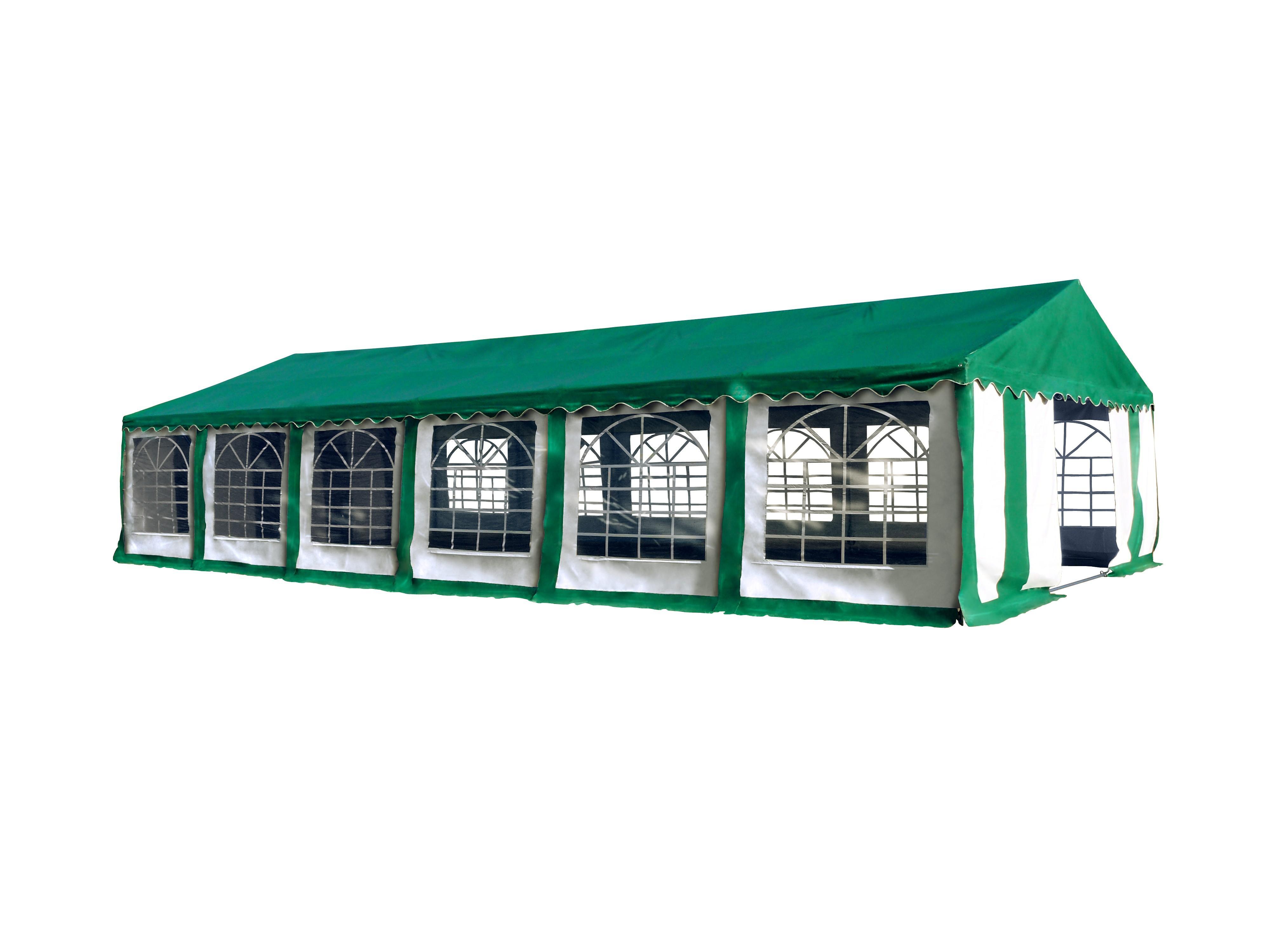 Hawaj Párty stan Premium Ohnivzdorný 6 x 12 m zeleno-bílý se zelenou střechou